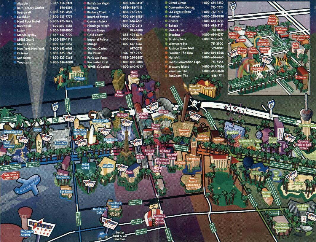 It is a picture of Las Vegas Strip Map Printable intended for illustrated