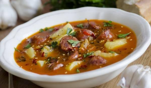 Картинки по запросу суп с охотничьими колбасками